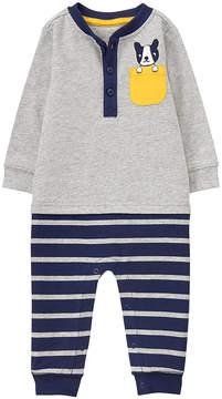 Gymboree Gray Stripe Pup-Pocket Appliqué Henley Playsuit - Infant