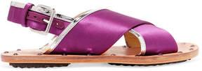 Marni Studded Mirrored Leather-trimmed Satin Slingback Sandals - Purple