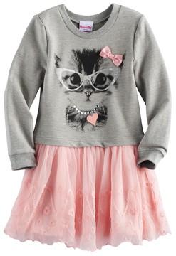 Nannette Toddler Girl Kitty Cat Mock-Layer Sweater Dress