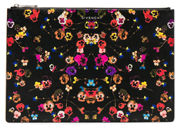 Givenchy Large Night Pansies Pouch in Black,Floral.
