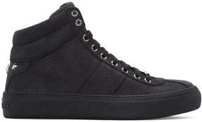 Jimmy Choo Black Nubuck Perforated Belgravia High-Top Sneakers