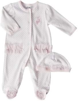 Little Me Newborn Girls 0-9 Months Pink Ballerina Footie Coveralls 2-Piece Set