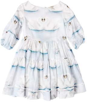 MonnaLisa Swan Printed Cotton Muslin Party Dress
