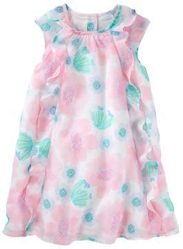 Osh Kosh Toddler Girl Chiffon Floral Pattern Dress
