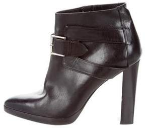 Hermes Leather Buckle Ankle Boots