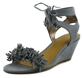 Material Girl Haniya Women Open Toe Leather Blue Sandals.