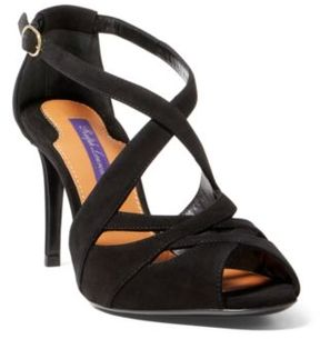 Ralph Lauren Arlenne Suede Sandal Black 7.5
