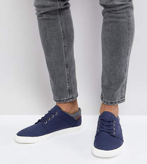 Asos Wide Fit Lace Up Sneakers In Navy Faux Suede With Warm Handle Cuff