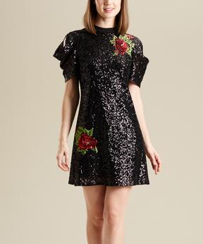 Bebe Black Floral & Sequin A-Line Dress