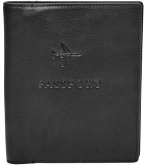 Fossil Men's Leather Passport Case - Black