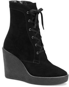 Aquatalia Viviann Suede Lace-Up Wedge Booties
