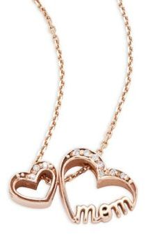 Alex Woo Little Words Diamond & 14K Rose Gold Mom Hearts Necklace