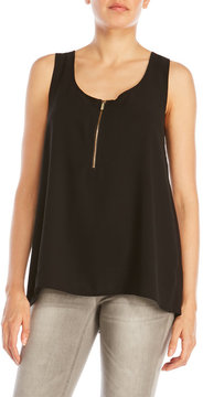 August Silk Sleeveless Zip Front Top
