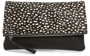 Sole Society 'Marlena' Faux Leather Foldover Clutch - Black