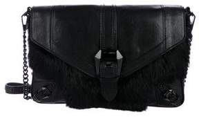 Rebecca Minkoff Leather & Fur Crossbody Bag - BLACK - STYLE