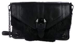 Rebecca Minkoff Leather & Fur Crossbody Bag - BLACK - STYLE