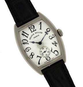 Franck Muller Montre Cintree Curvex 7502 S6 MM 18K White Gold & Leather Manual 29mm Unisex Watch