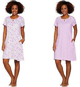 Carole Hochman Daisy & Ditsy Twin Print Cotton 2-Pc Sleepshirt Set