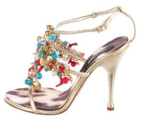 Roberto Cavalli Embellished Metallic Sandals