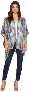 Echo Denim Geo Ruana Poncho Women's Clothing