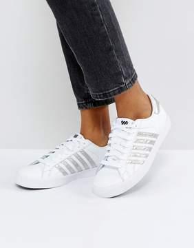 K-Swiss Blemont Metallic Sneakers In White With Silver Stripe