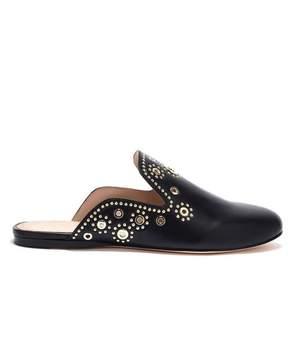 Rachel Zoe | Grace Eyelet-Embellished Leather Slippers | 6.5 us | Black