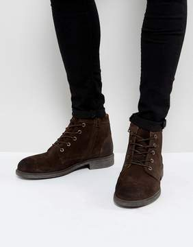 Selected Trevor Suede Lace Up Boots In Brown