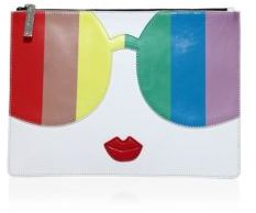 Alice + Olivia Rainbow Printed Leather Clutch