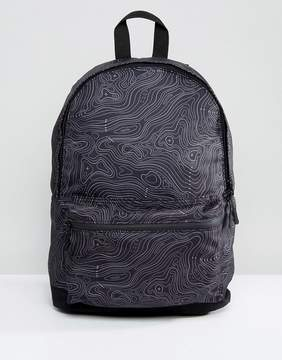 Asos Backpack With Contour Print In Black
