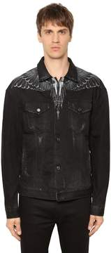 Marcelo Burlon County of Milan Black Wing Printed Cotton Denim Jacket