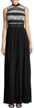 ABS by Allen Schwartz Women's Mixed-Media Pleated Gown