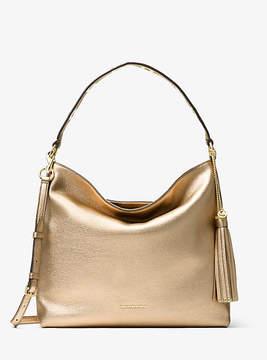 Michael Kors Brooklyn Large Metallic Leather Shoulder Bag - GOLD - STYLE