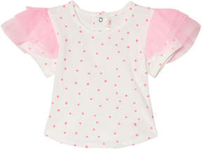 Billieblush White and Pink Spot Frill Sleeve Tee