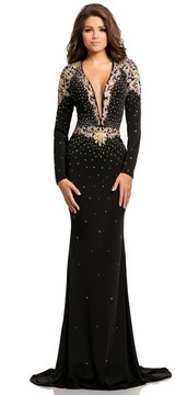 Johnathan Kayne 8085 Long Sleeved Embellished Jersey Gown