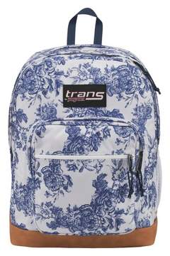 JanSport Trans by Super Cool 17 Ocean Vintage Floral Print Backpack - White/Blue