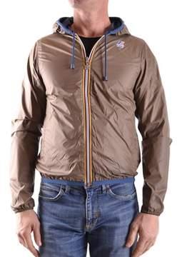 K-Way Men's Brown Polyamide Outerwear Jacket.