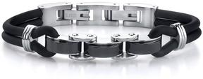 Ice Stainless Steel Panther Link and Rubber Cord Bracelet for Men