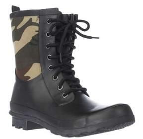 Chooka Cara Lace Up Mid Calf Rain Boots, Green Camo.