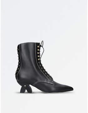 Loewe Ladies Black Practical Leather Ankle Boots