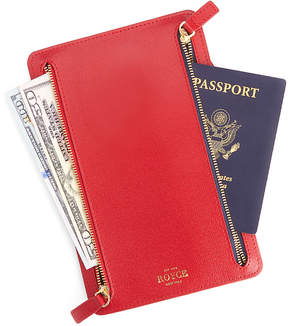 Royce Leather Red RFID-Blocking Four Zip Travel Pouch
