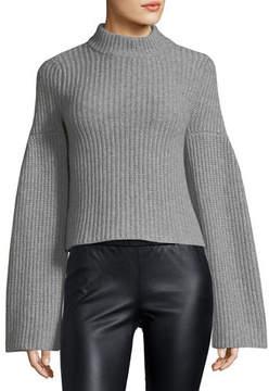 Autumn Cashmere Mock-Neck Trumpet-Sleeve Sweater