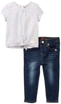 7 For All Mankind Tie-Front Tee & Skinny Jean (Baby Girls)