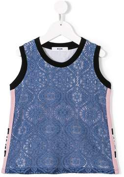 MSGM lace detail printed top
