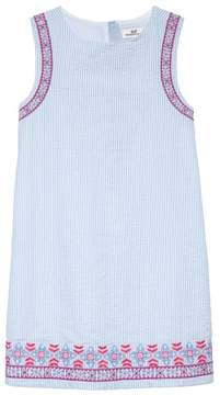 Vineyard Vines Embroidered Seersucker Shift Dress