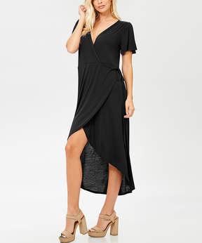 Bellino Black Tie-Waist Wrap Dress - Women