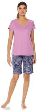 Karen Neuburger KN Cool by Summer Breeze Henley/Bermuda Pajama Set