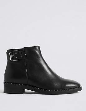 Marks and Spencer Leather Block Heel Strap Stud Ankle Boots