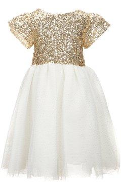 Edgehill Collection Little Girls 4-6X Sequin Flutter-Sleeve Dress