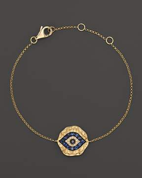 Bloomingdale's Diamond and Sapphire Evil Eye Bracelet in 14K Yellow Gold