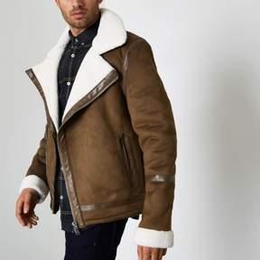 River Island Mens Brown faux suede fleece collar biker jacket